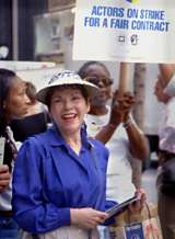 Anne Fielding on the picket line for SAG-AFTRA