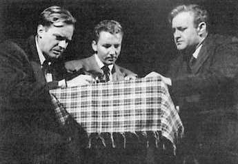 Arthur Kennedy as Willy Loman's son Biff, Cameron Mitchell as son Happy, with father, Lee J. Cobb