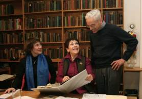 Barbara Allen, Anne Fielding, and Michael Palmer at work in the 3rd Floor Library, the Eli Siegel Collection, at the Aesthetic Realism Foundation.