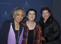 "Ruby Dee, Alice Bernstein, and Anne Fielding at a presentation of ""The People of Clarendon County"" at a university"