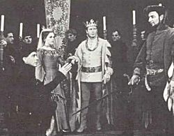Richard Basehart as Richard II, Anne Fielding, the Queen, Philip Bosco as Bolingbroke, American Shakespeare Festival, Stratford, CT