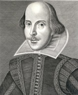 William Shakespeare, frontispiece of first folio, portrait by Martin Droeshout.
